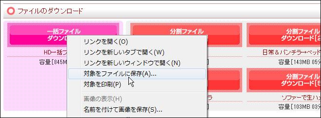 対象をファイルに保存でダウンロードします