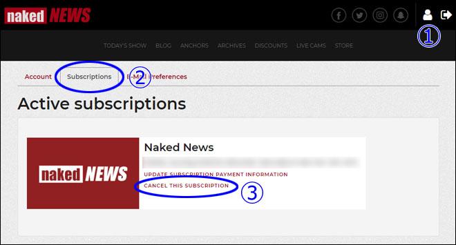 Naked News 退会画面