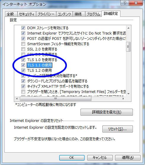 TLS1.1の使用